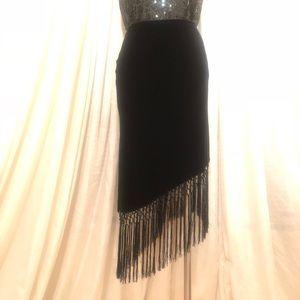 Velvet Angled Fringe Skirt
